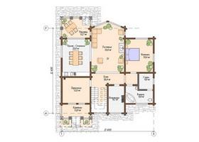 план первого этажа дома из клееного бруса